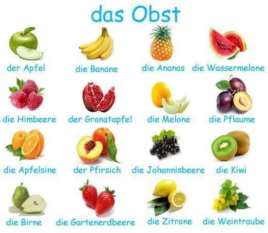 gyümölcsök németül
